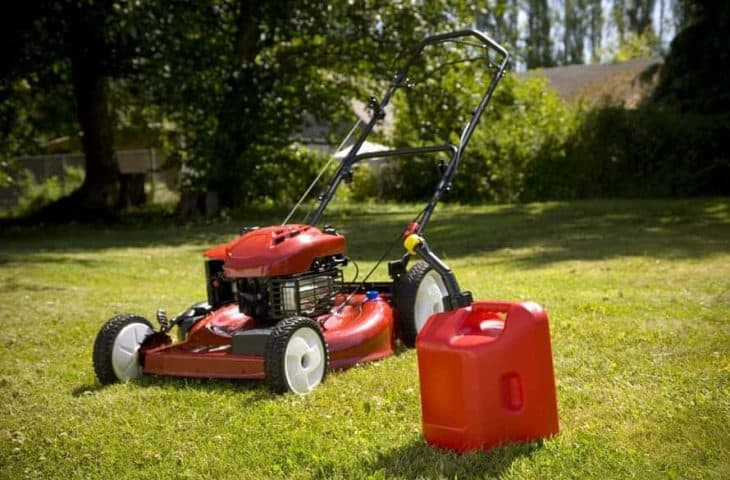 gas powered lawn mower and canister gas