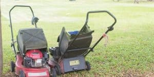 two gas powered lawn mowers