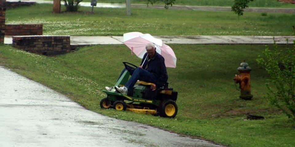 mowing wet grass