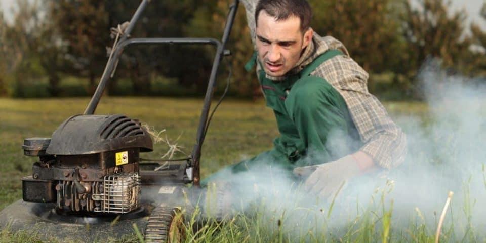 white smoke lawn mower