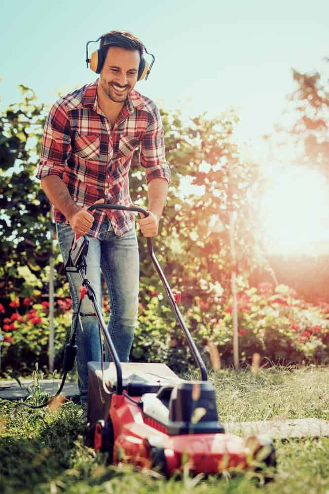 wear ear protection while mowing the lawn