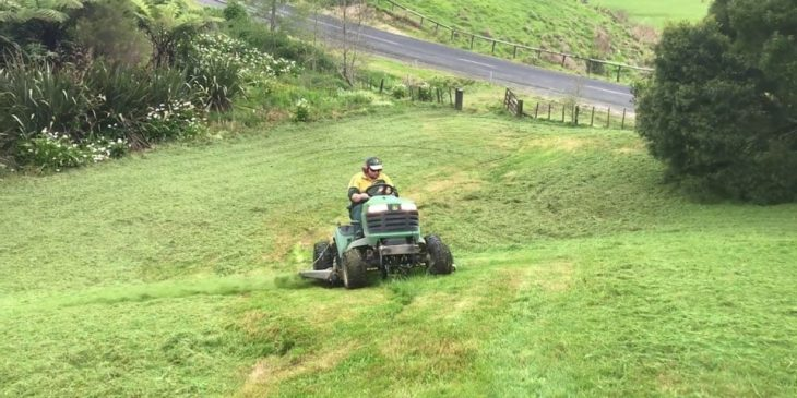 how to mow steep slopes