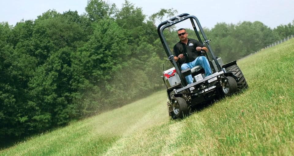 zero turn mower mowing slope sideways