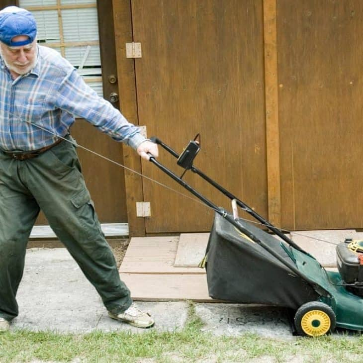 how to pull start a lawn mower
