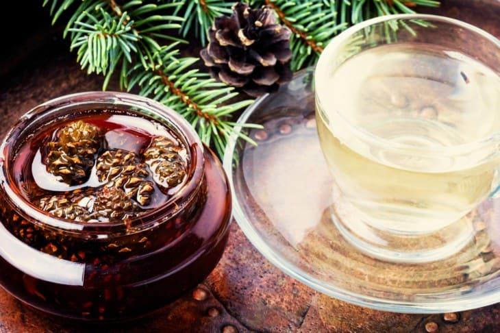 Pine needles cones tea