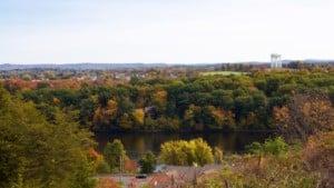 Scenic view of Ludlow Massachusetts changing into fall foliage