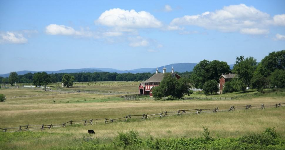 Farm fences and trees on battle site as seen from Cemetery Ridge at Gettysburg Pennsylvania