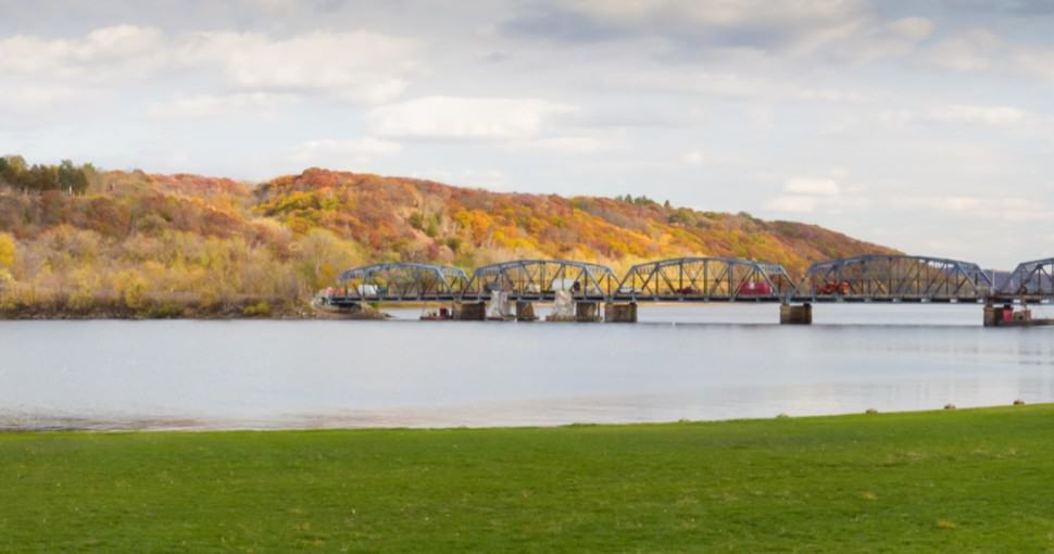 Panorama of Stillwater Lift Bridge over the St. Croix River Separating Minnesota and Wisconsin