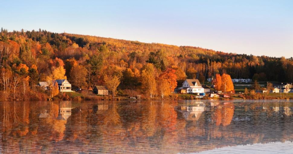 Autumn countryside of New Brunswick Canada along the Saint John River